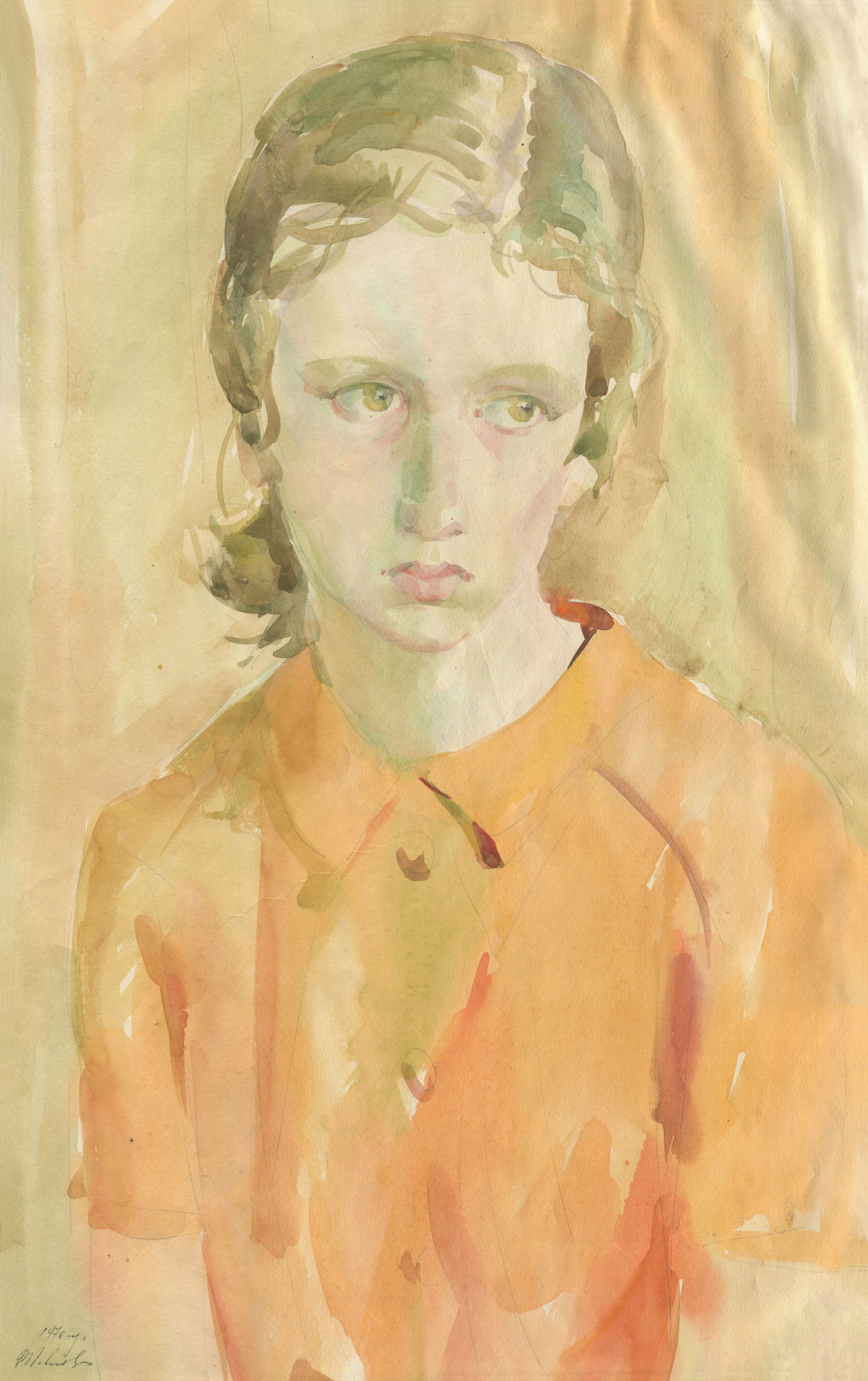 Alexandrovich Rudolf Pavlov. A girl in an orange sweater, 1970