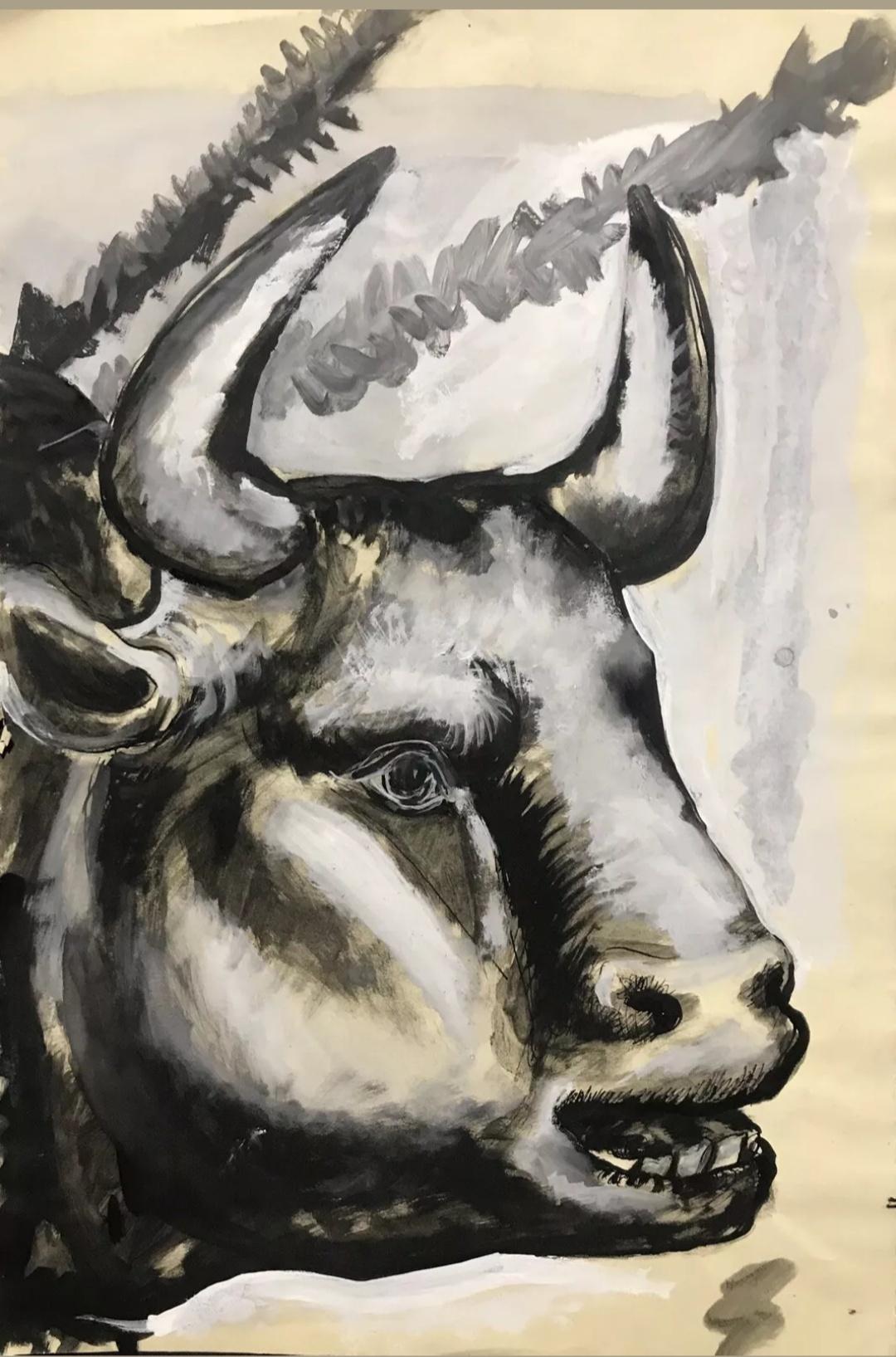 Unknown artist. Bullfight. Bull head