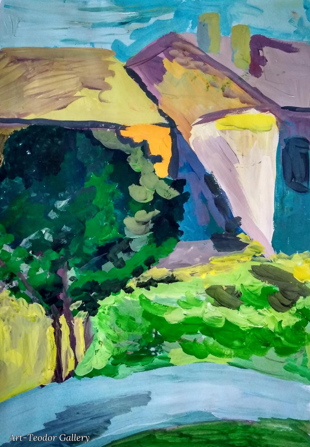 Art-Teodor Gallery. Этюд гуашью Вид из окна