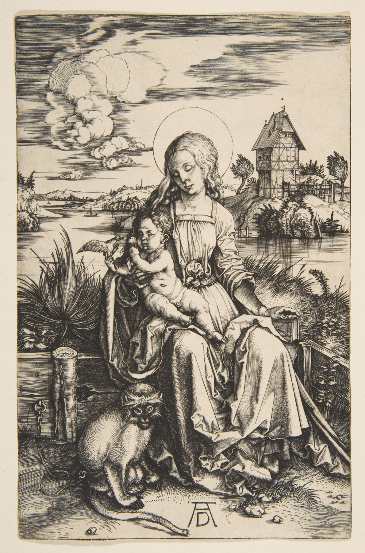 Albrecht Durer. Mary and child with a monkey
