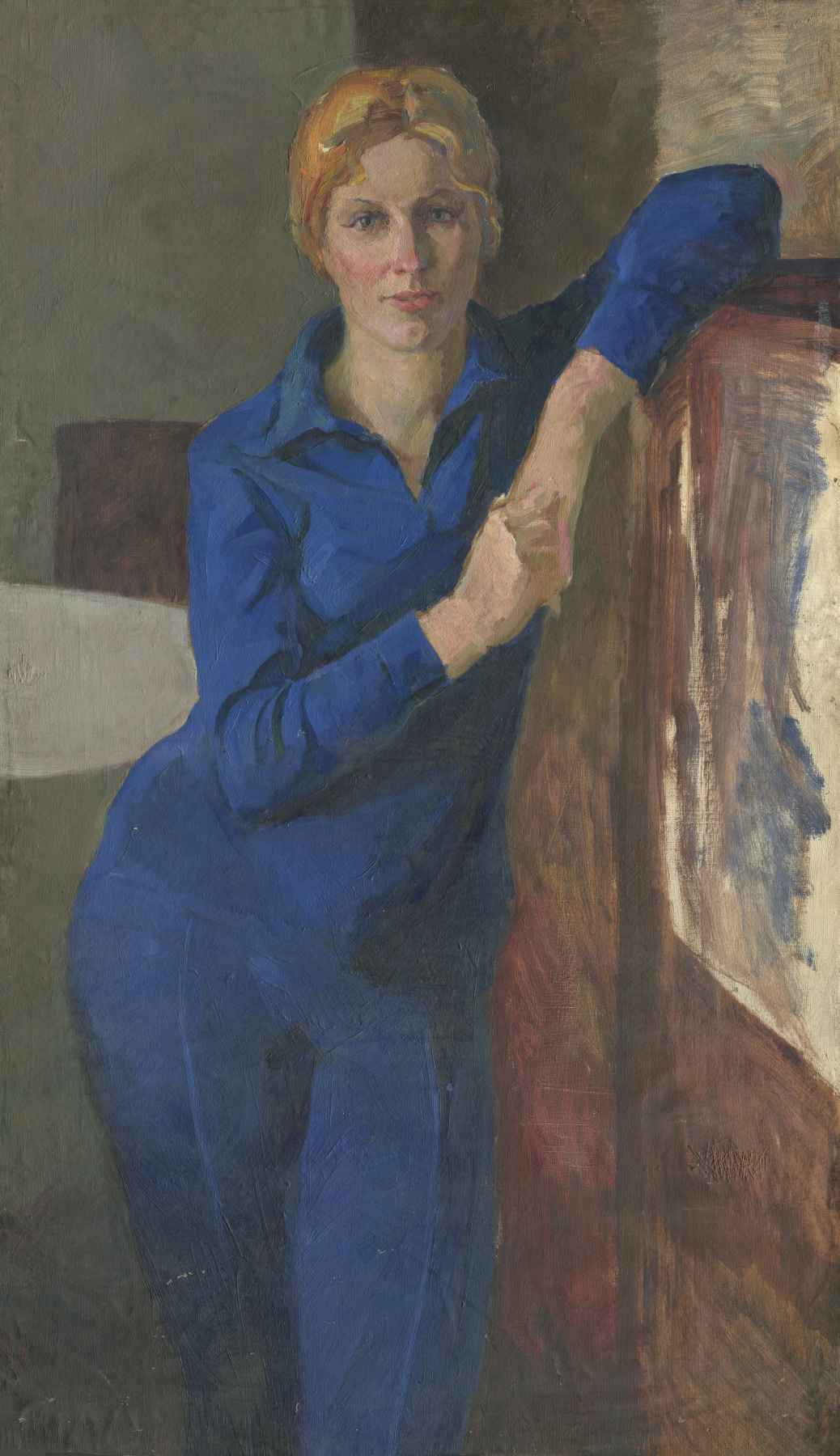 Alexandrovich Rudolf Pavlov. Portrait of a woman in a blue suit.