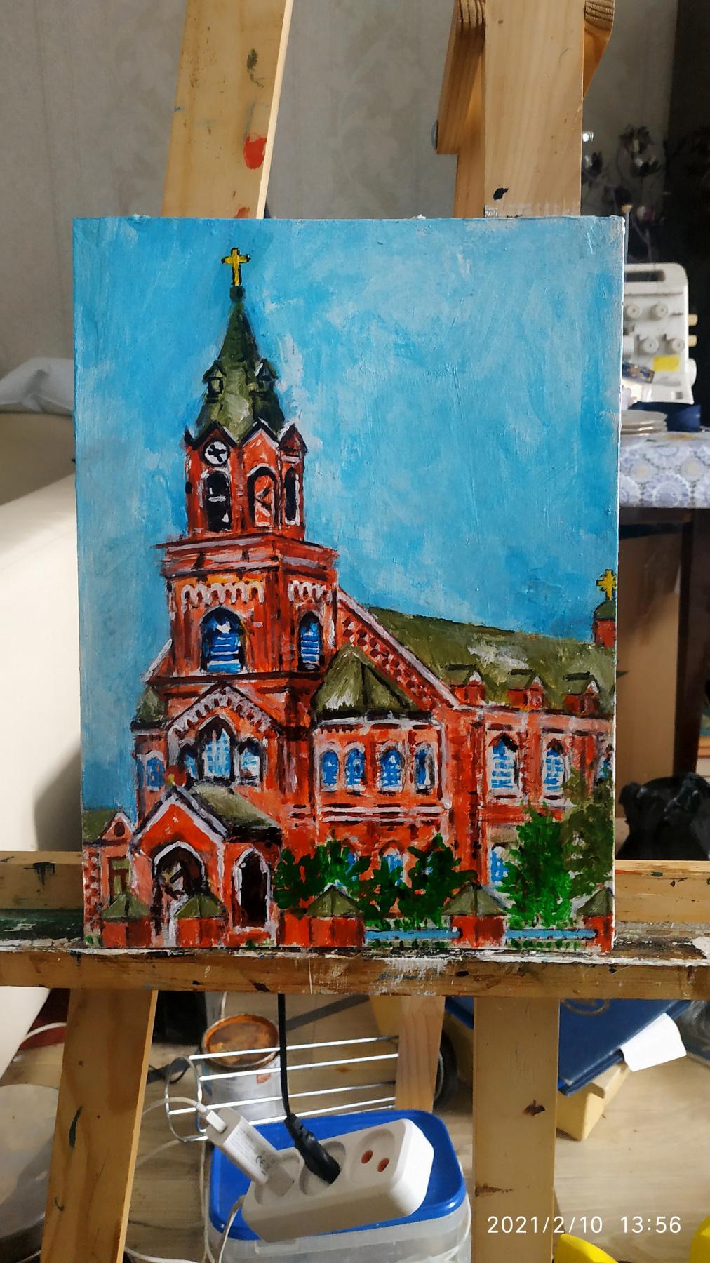 Weilert. Lipovka village German colony Schaefer Lutheran church, reconstruction
