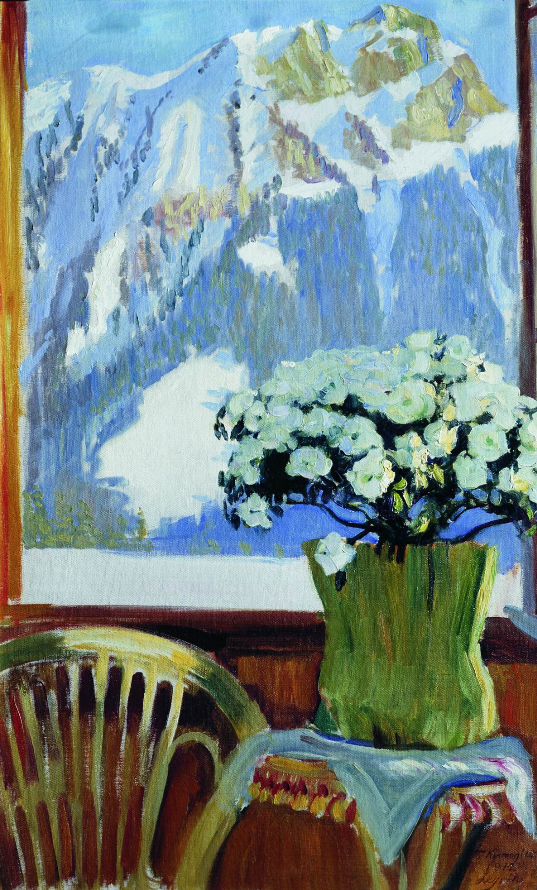 Boris Kustodiev. Flowers on the balcony with mountains in the background