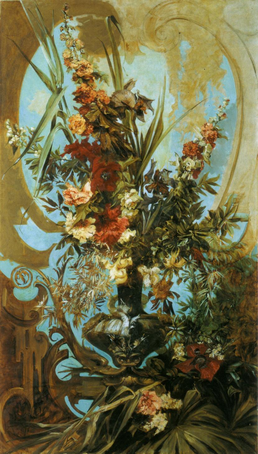 Hans Makart. Decorative bouquet of flowers