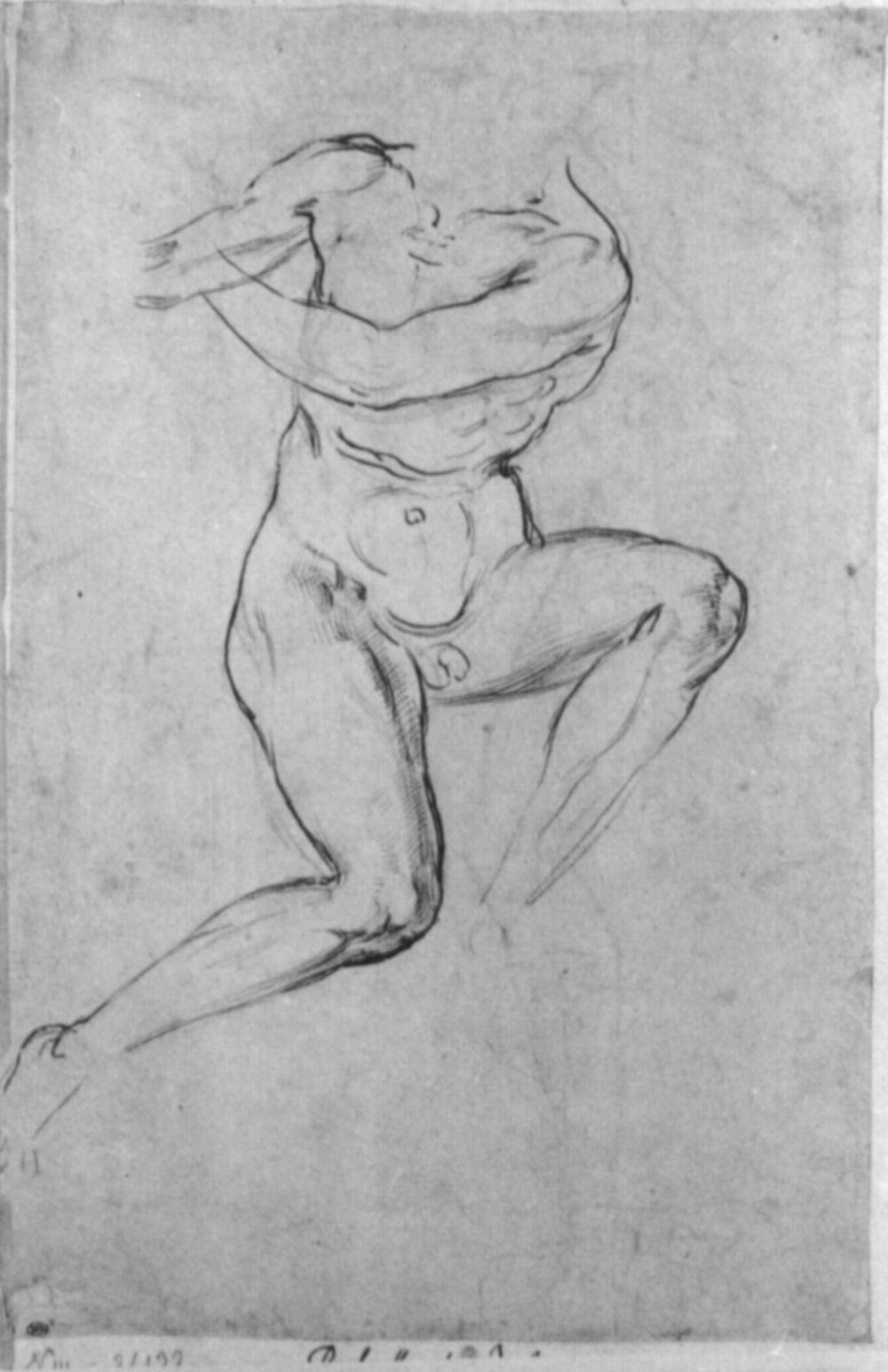Raphael Sanzio. Study of a Nude for battle scenes