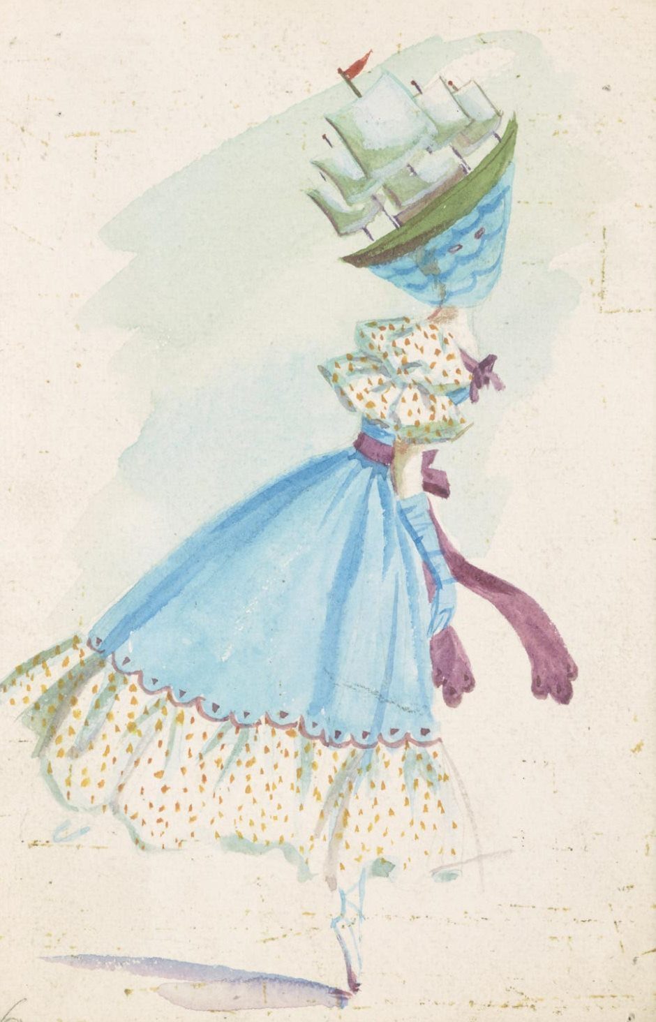 """Dorothea Tunning. Sailboat. Costume design for the ballet """"Night shadow"""""""