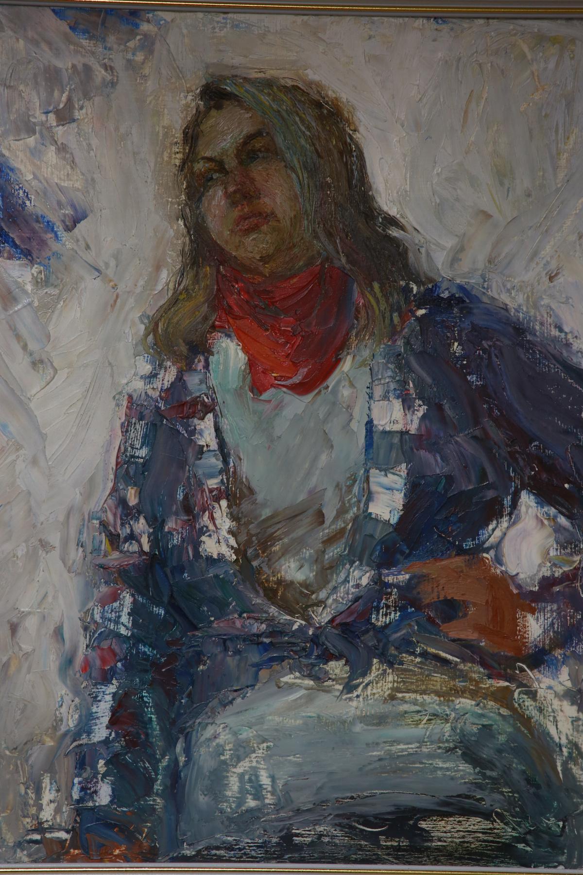 Вера Маруева. Портрет девушки в красном платке