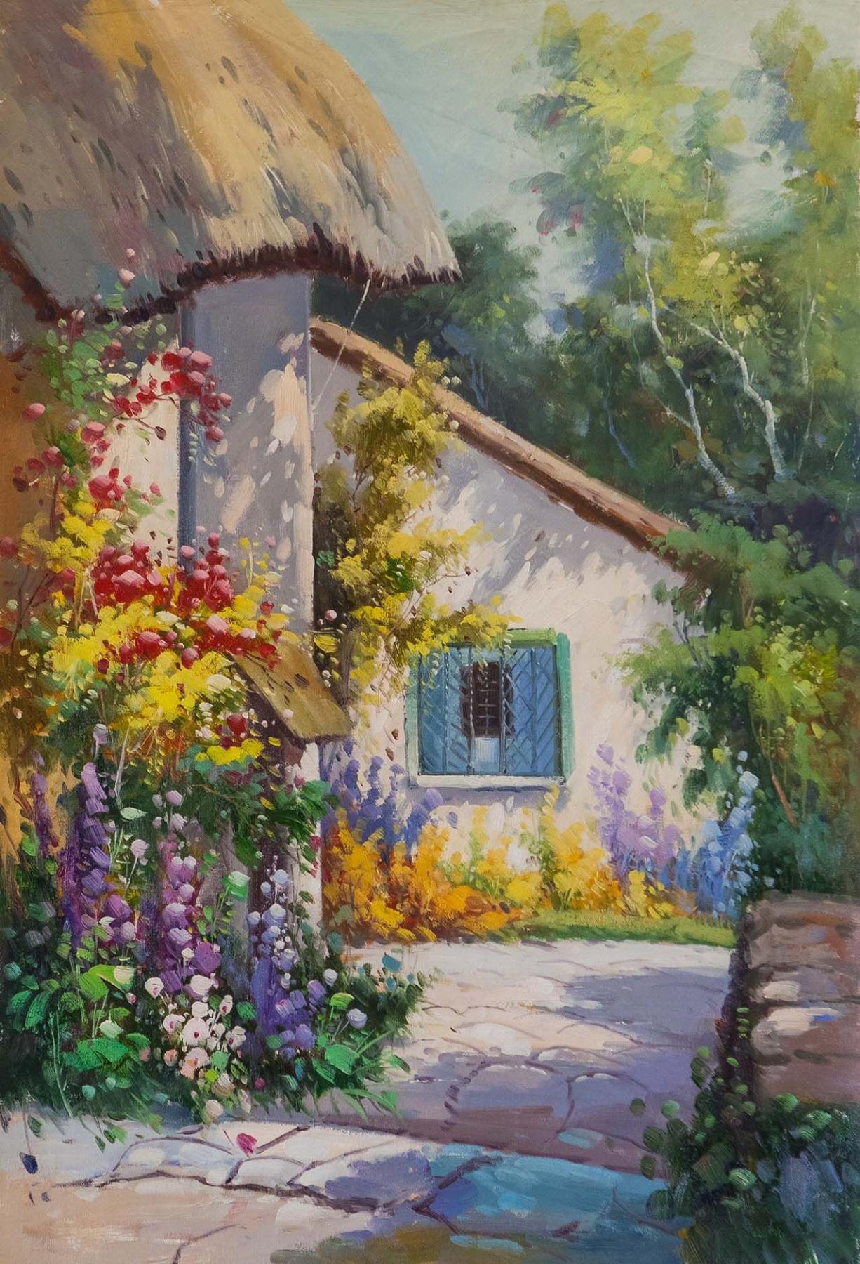 "Alexander Romm. Copy of Alfred de Breanski's painting ""A Home in Devon"""