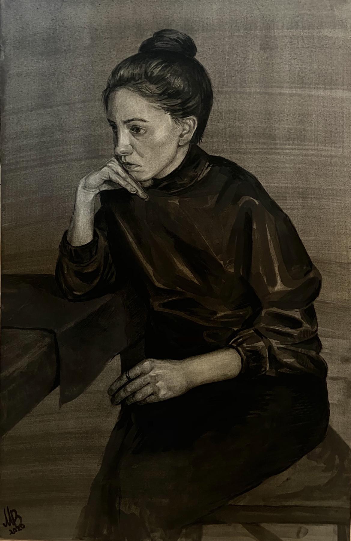 Maria Alexandrovna Vladimirova. Portrait of a girl in black