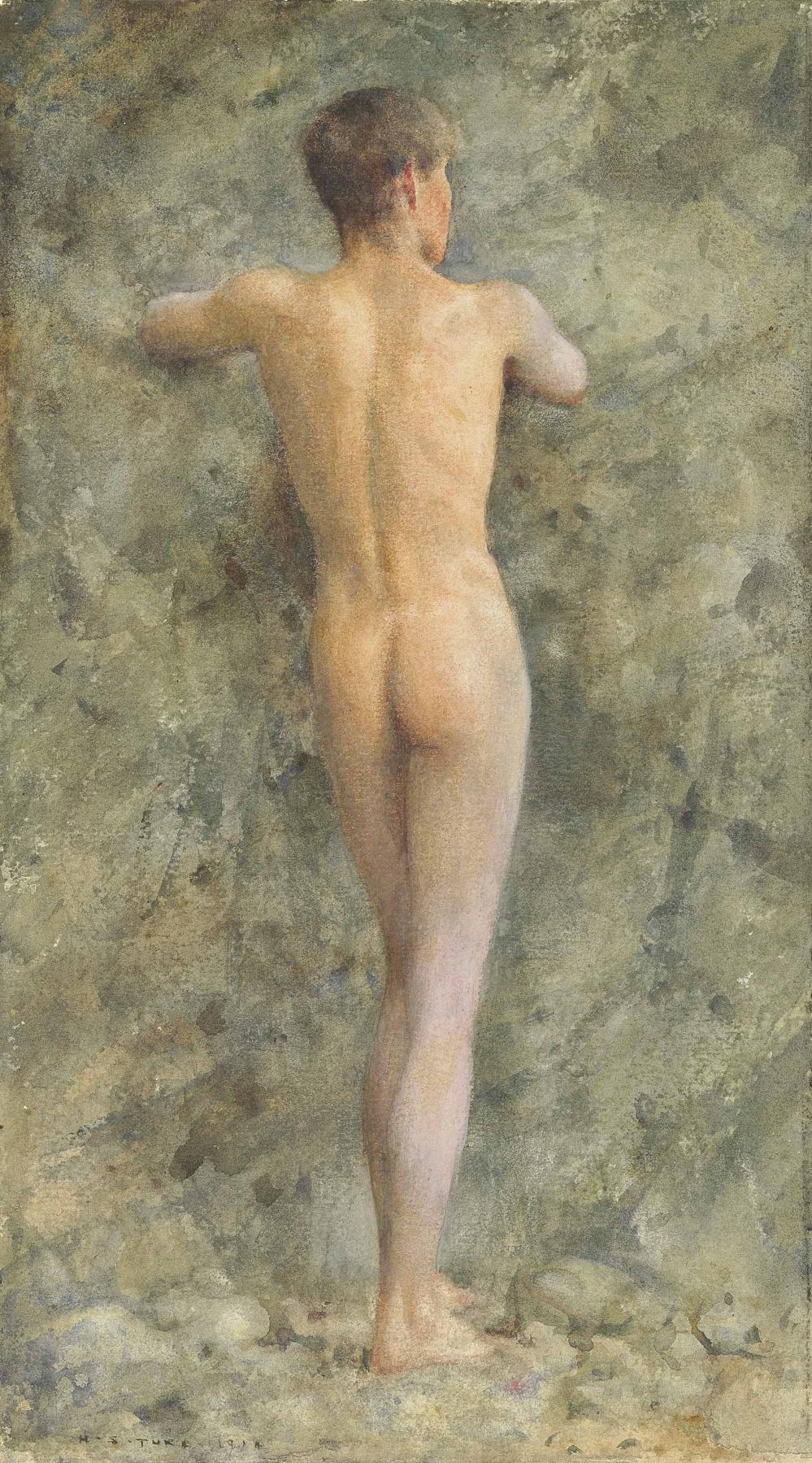 Tuke Henry Scott. 1858-1929. A standing male nude, 1914