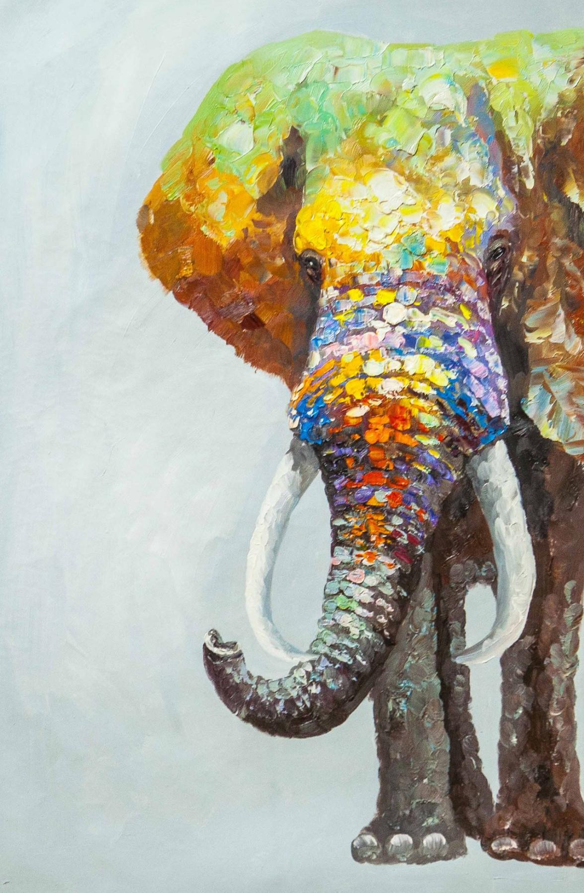 (no name). Multicolored elephant
