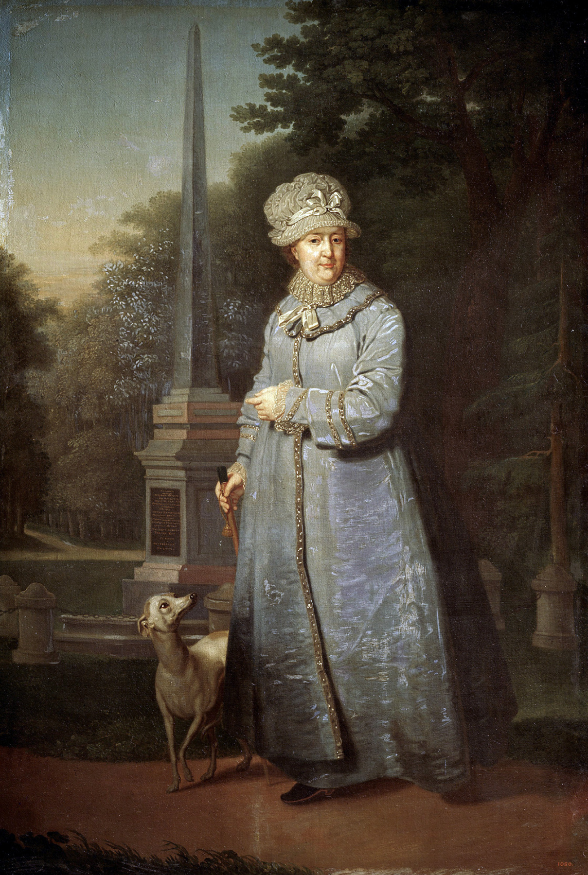 Vladimir Lukich Borovikovsky. Catherine II strolling in the background of Cahul (Rumyantsevsky) obelisk