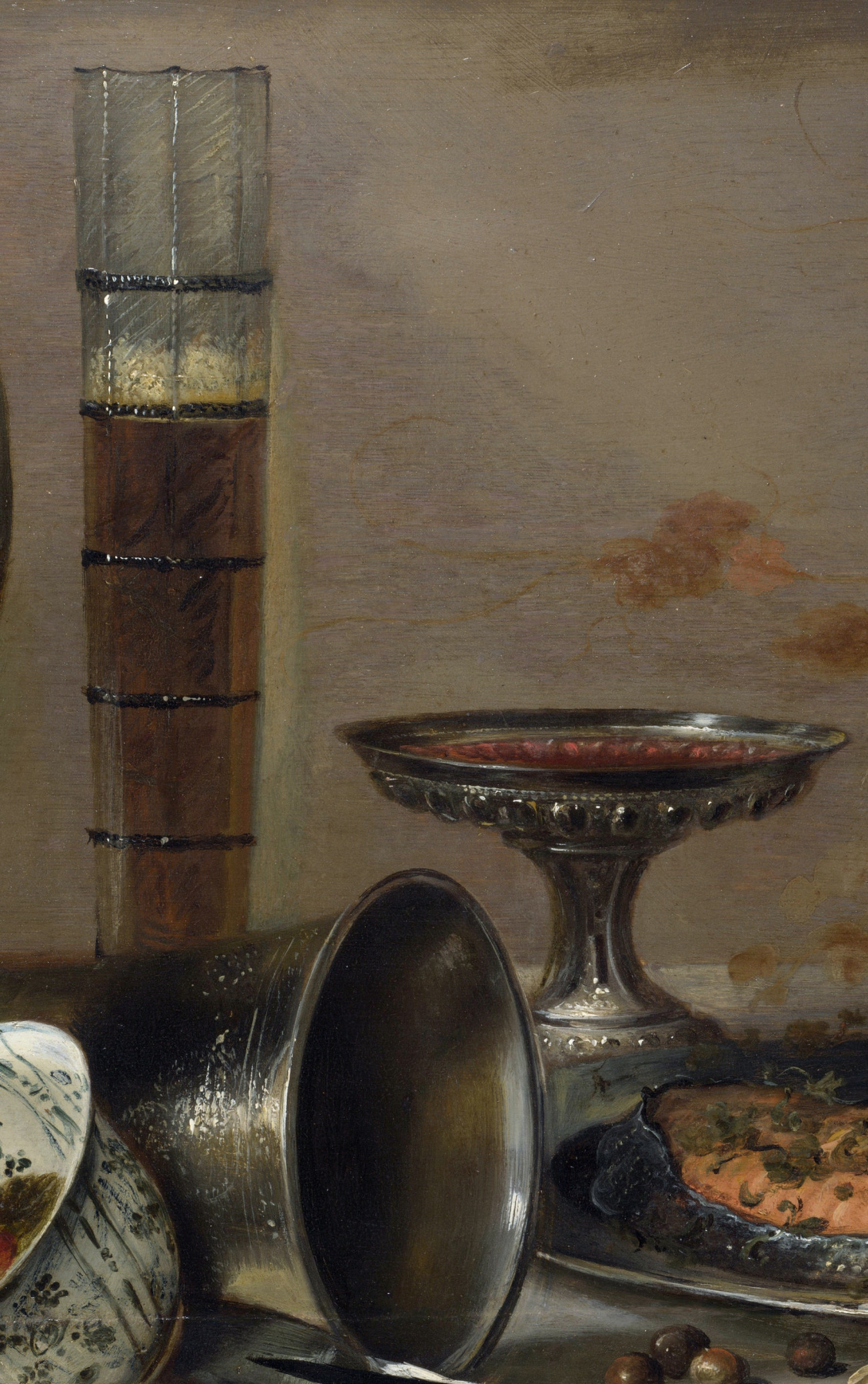 Pieter Claesz. Still life with strawberries and glasses for drinks. Fragment 4