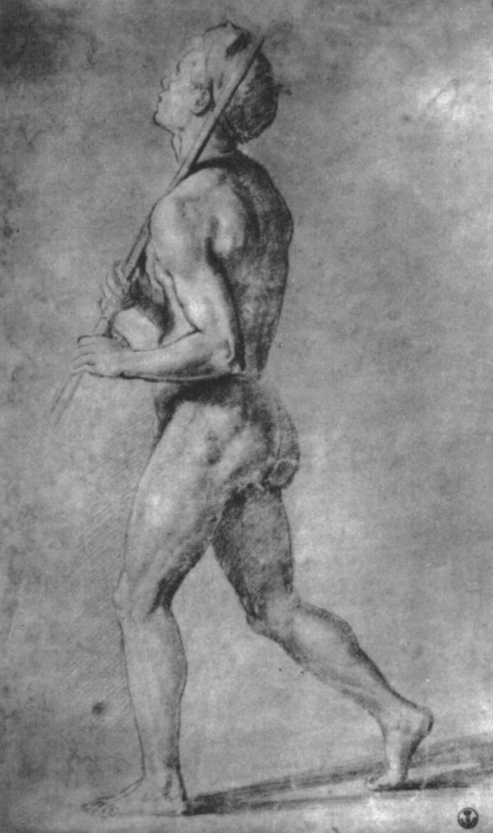 "Raphael Sanzio. Study for the paintings of the Hall of Constantine, the fresco ""Battle of Constantine"". The figure of a naked men"