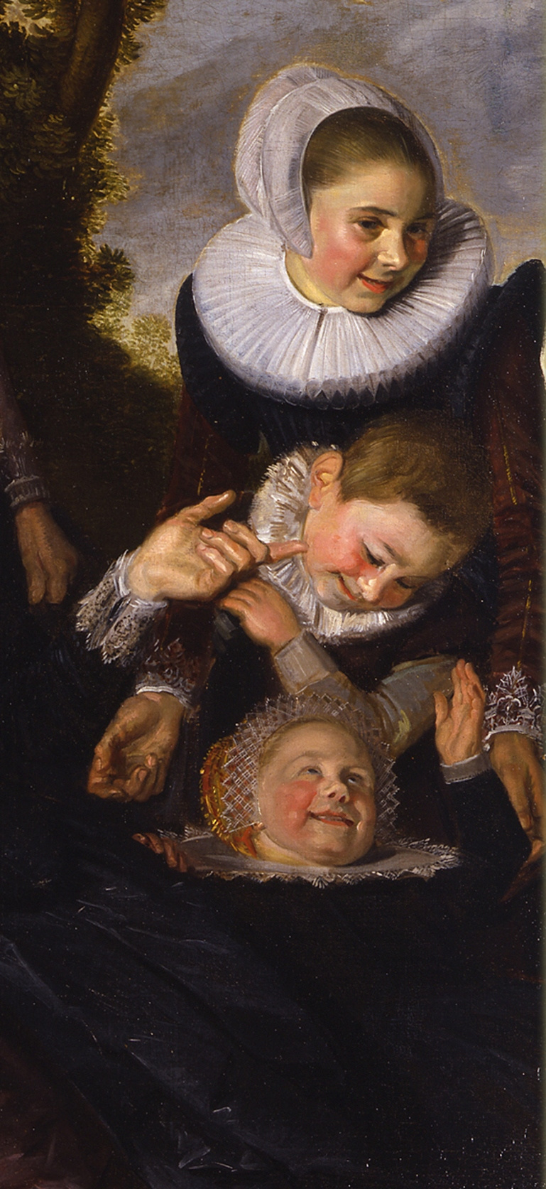 Frans Hals. Portrait of a family with children against the backdrop of the landscape. Fragment. Frolicking children
