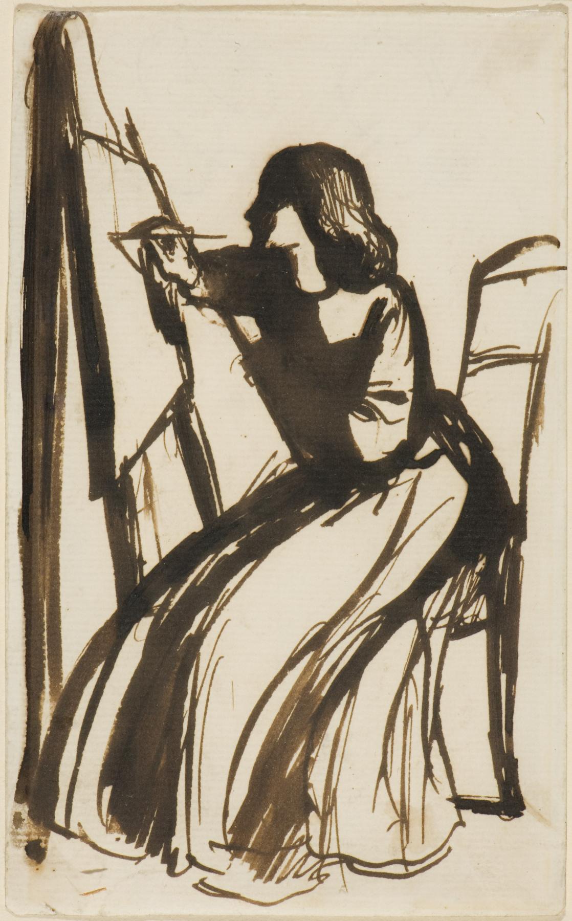 Dante Gabriel Rossetti. Elizabeth Siddal sitting in front of the easel