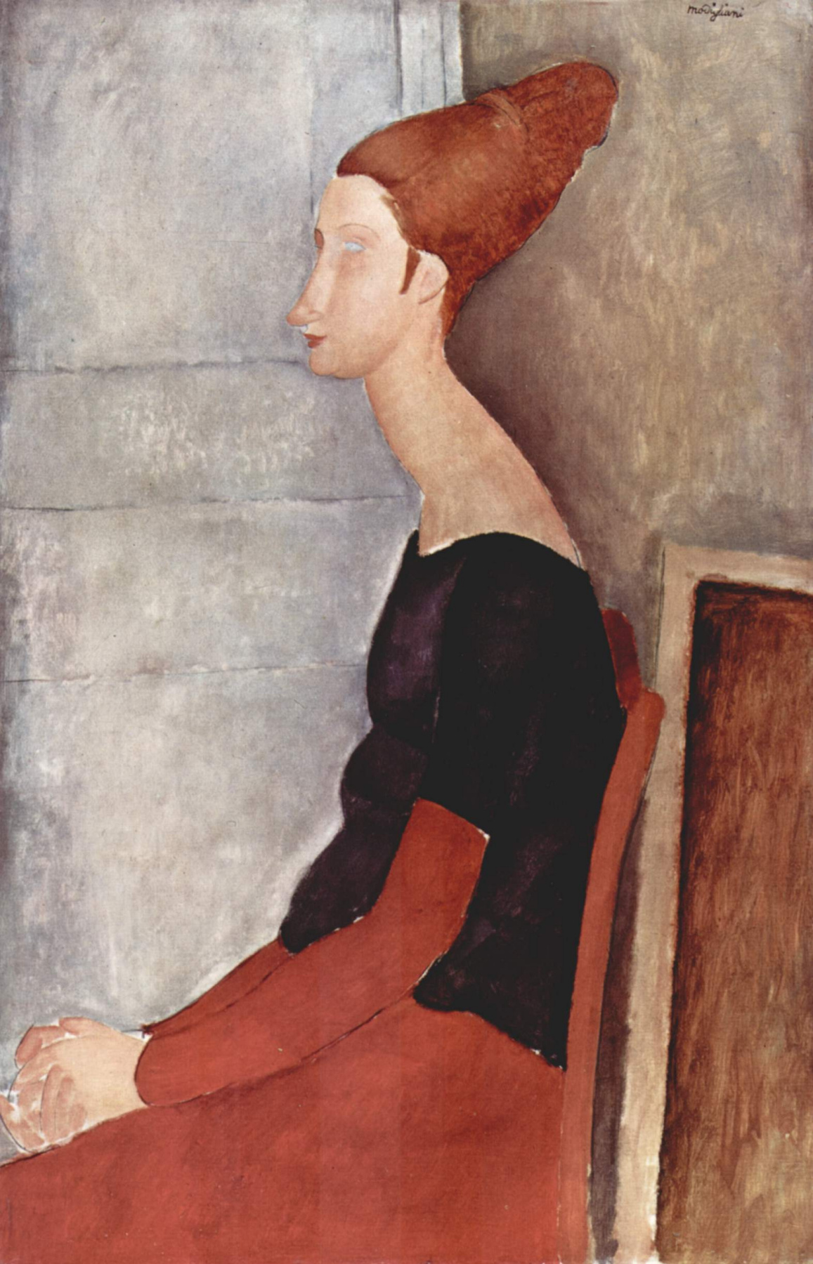 Seated portrait of Jeanne hebuterne in profile (in dark clothes)