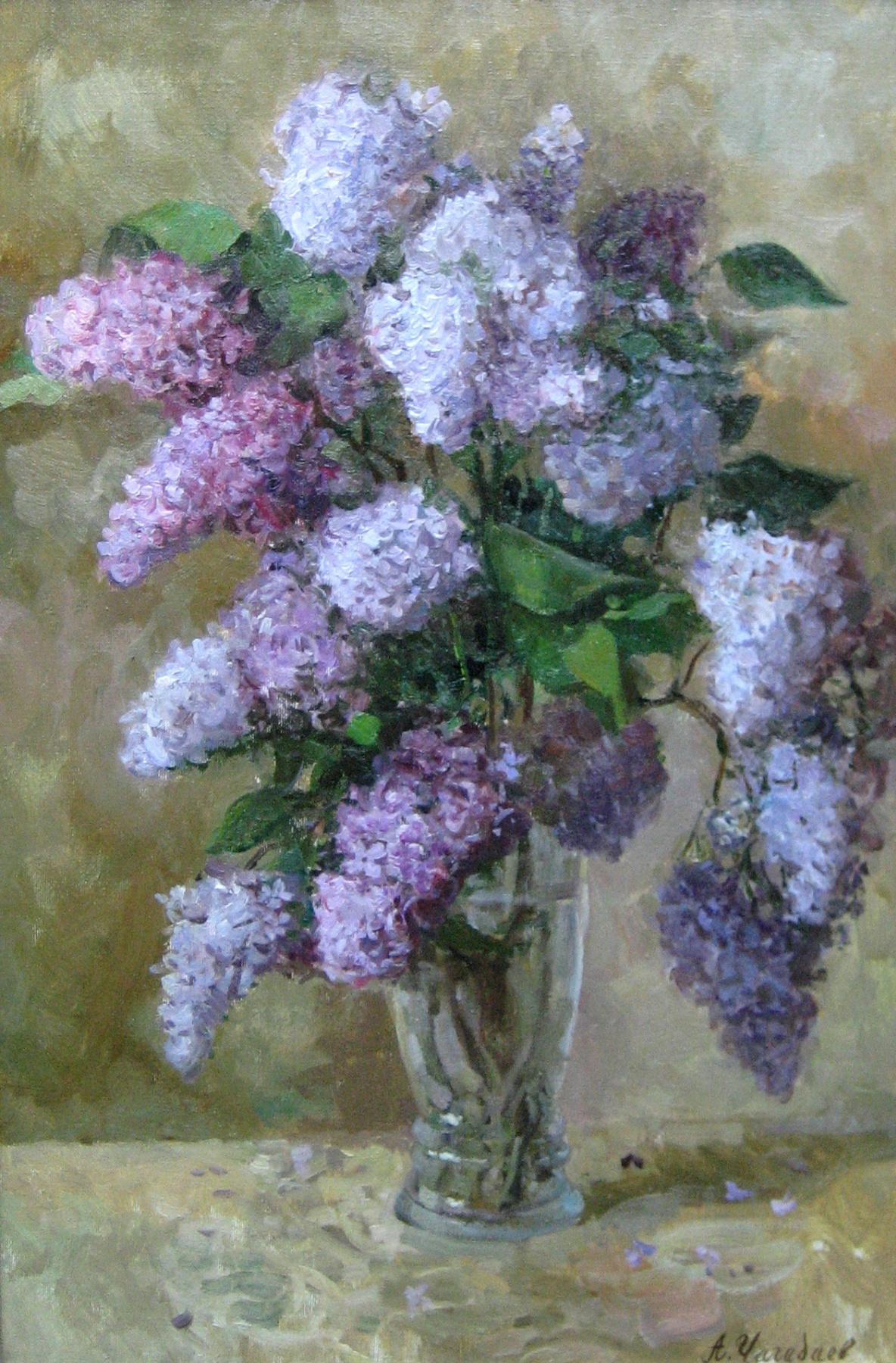 Aleksandr Chagadaev. Lilacs in a vase