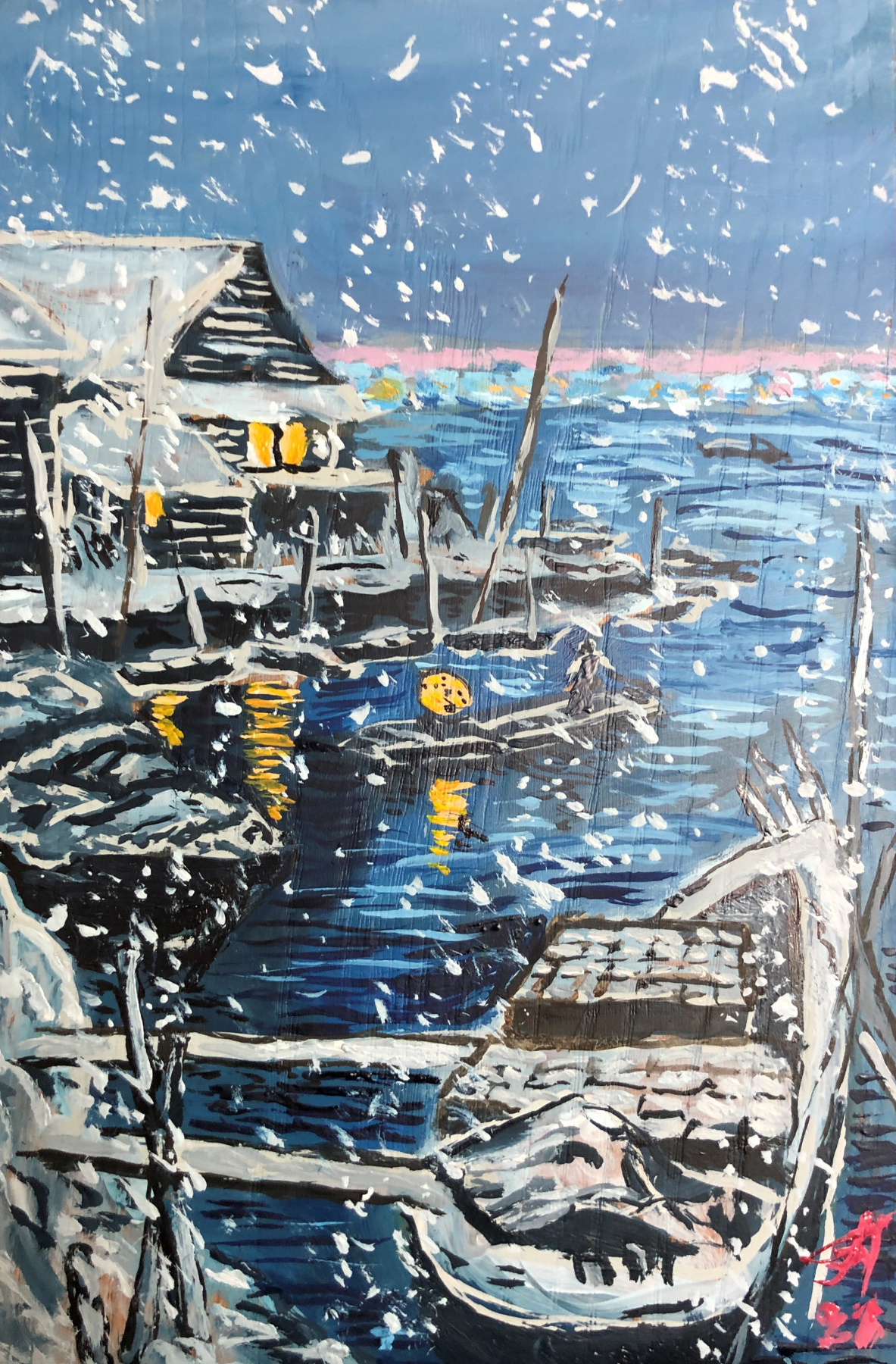 Sergey Vladimirovich Sebini. Зимний пейзаж с лодкой на тему Касуи Хавасе