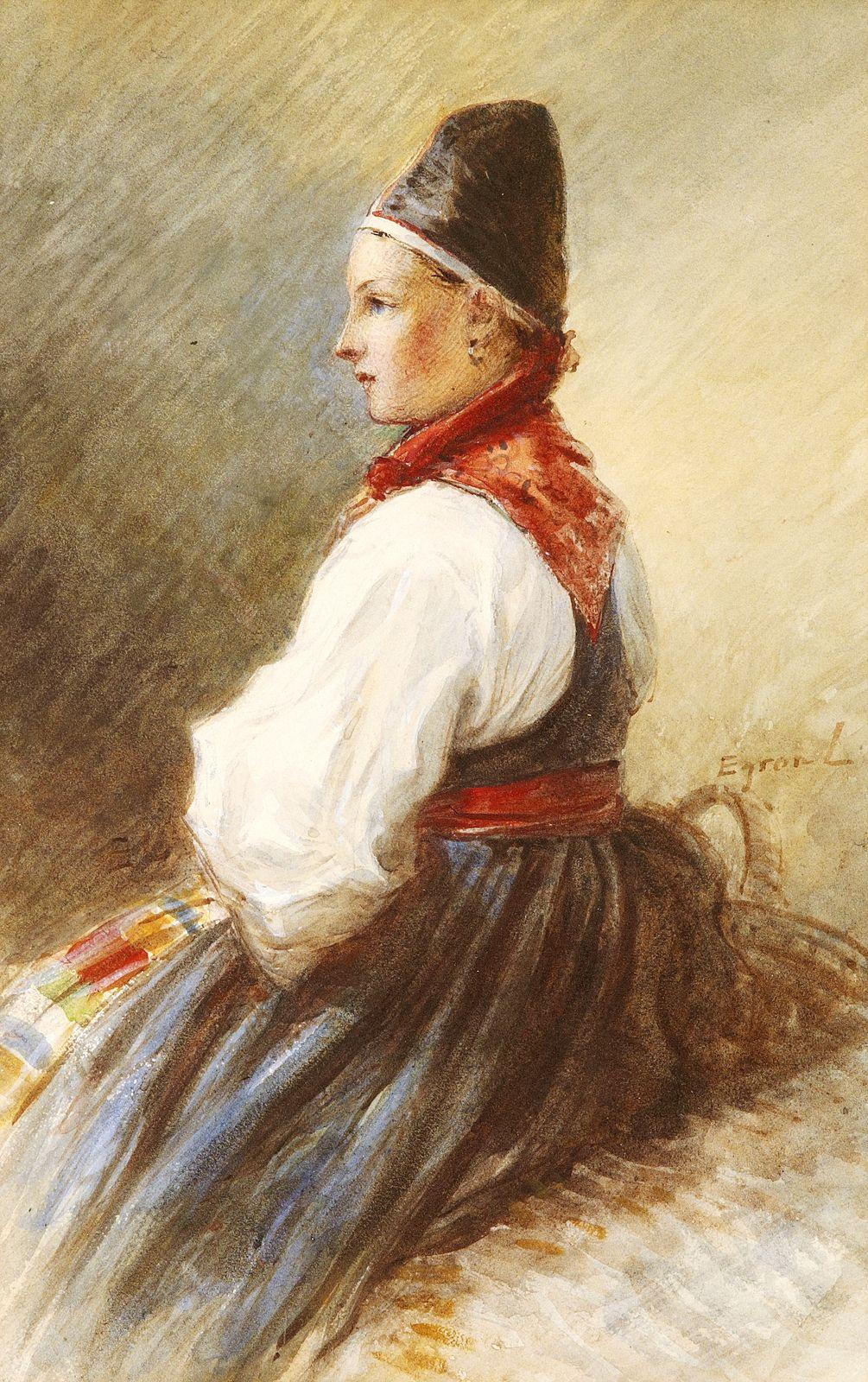 Egron Lundgren. Girl in national costume