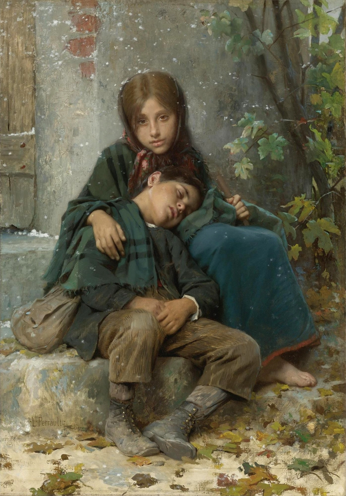 Leon Basile Perrot France 1832-1908. In the cold.