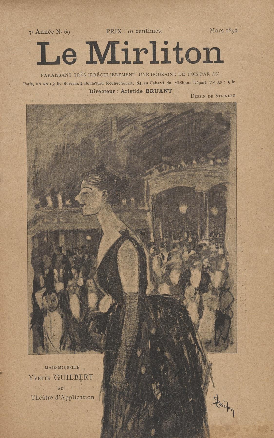 "Theophile-Alexander Steinlen. Illustration for the magazine ""Mirliton"" No. 68, March 1891"
