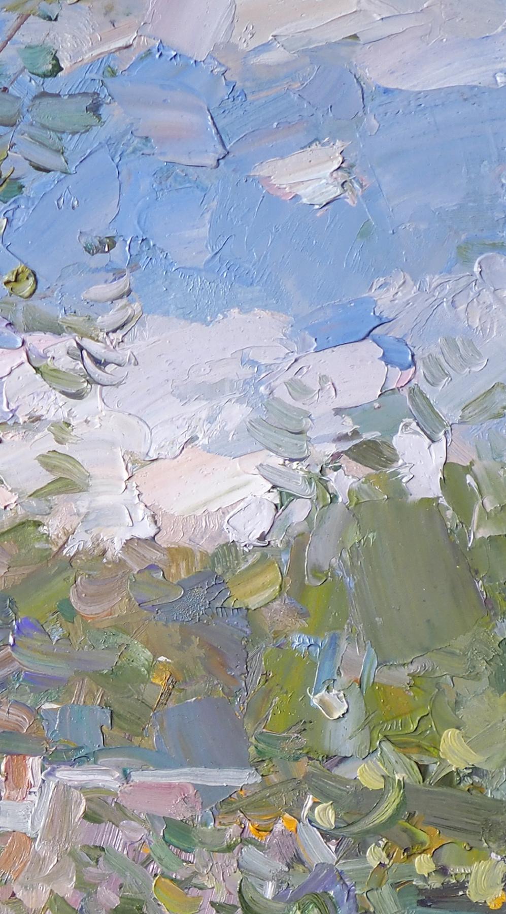 Пейзаж с цветами. Д.В.П.,масло 16,8 х 31,5 см. 2021