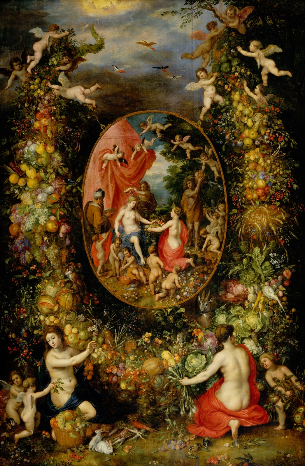 Jan Bruegel The Elder. A garland of fruit with Cybela receiving gifts from the personification of the four seasons (with Hendrik van Balen). About 1622