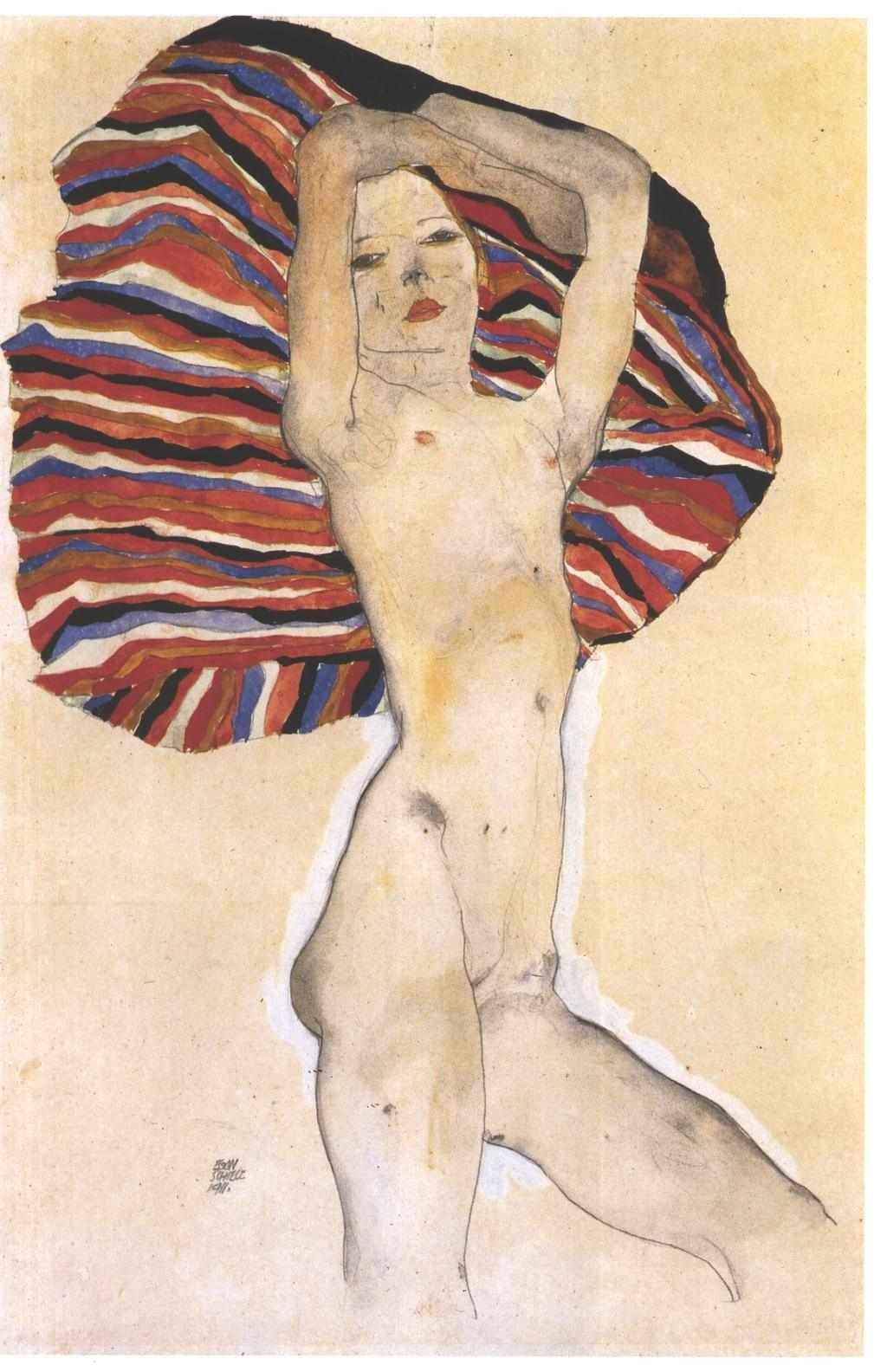 Egon Schiele. Nude against the background of colorful fabric