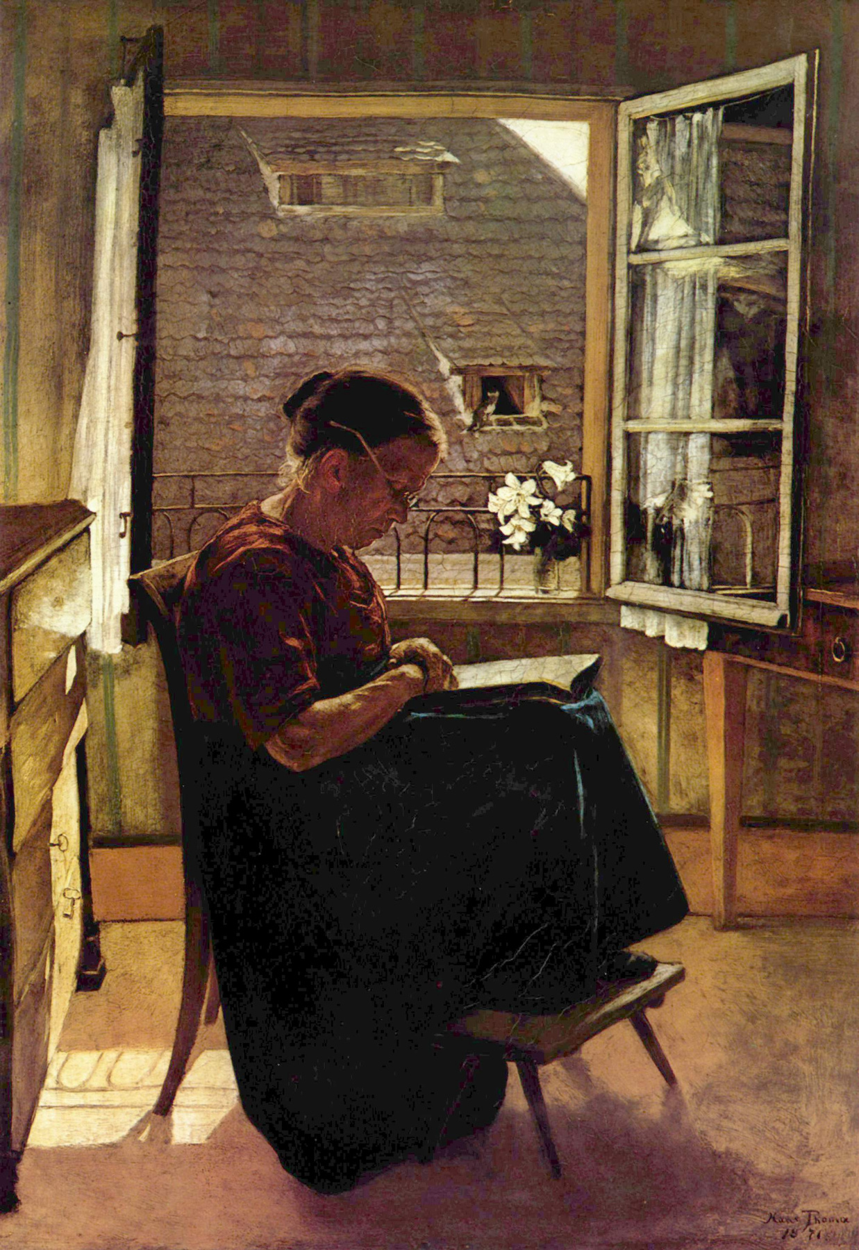 Hans Toma. The artist's mother in the upper room