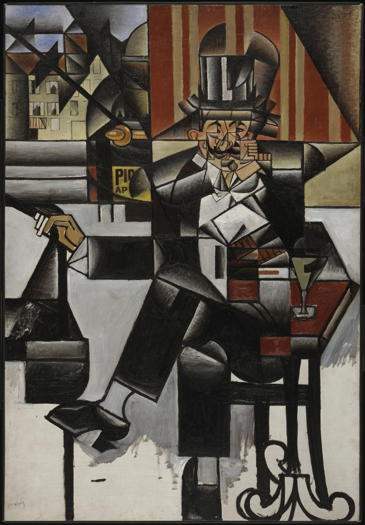 Juan Gris. Man in cafe
