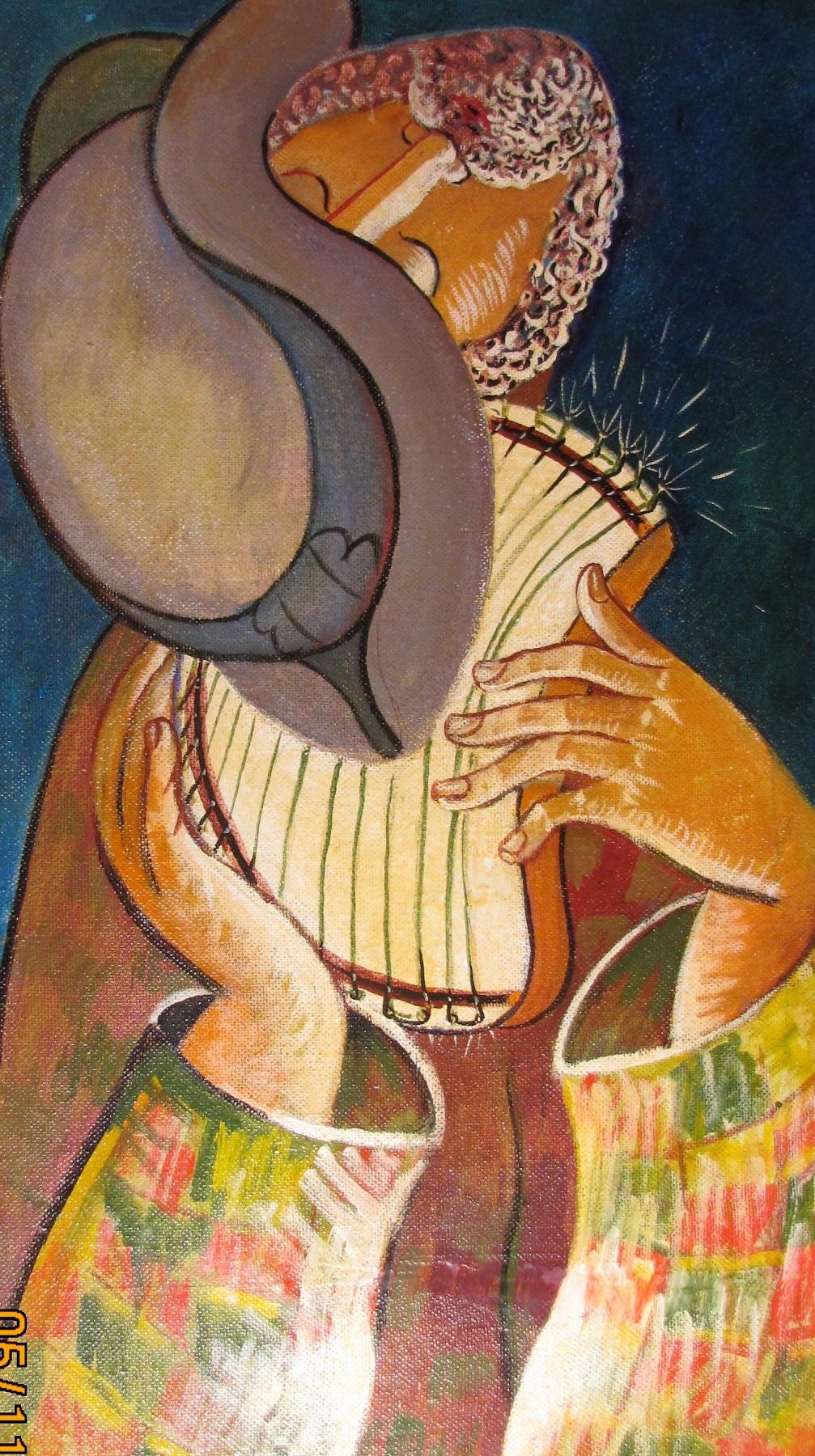 Rostislav Nikolaevich Ivanov. Self-portrait with a harp