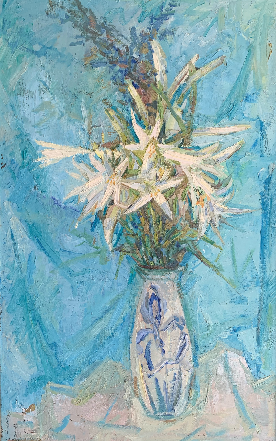 Alena Sukhoborova-Kazarina. Lilies on a blue background