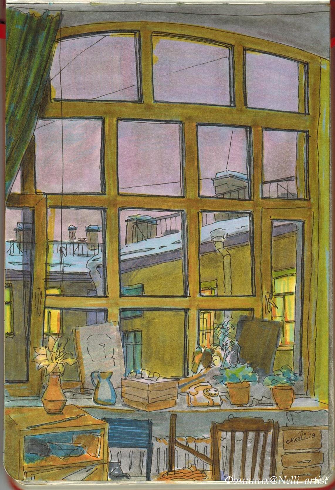 Nelly Vladimirovna Fominykh-Igoshina. Workshop window