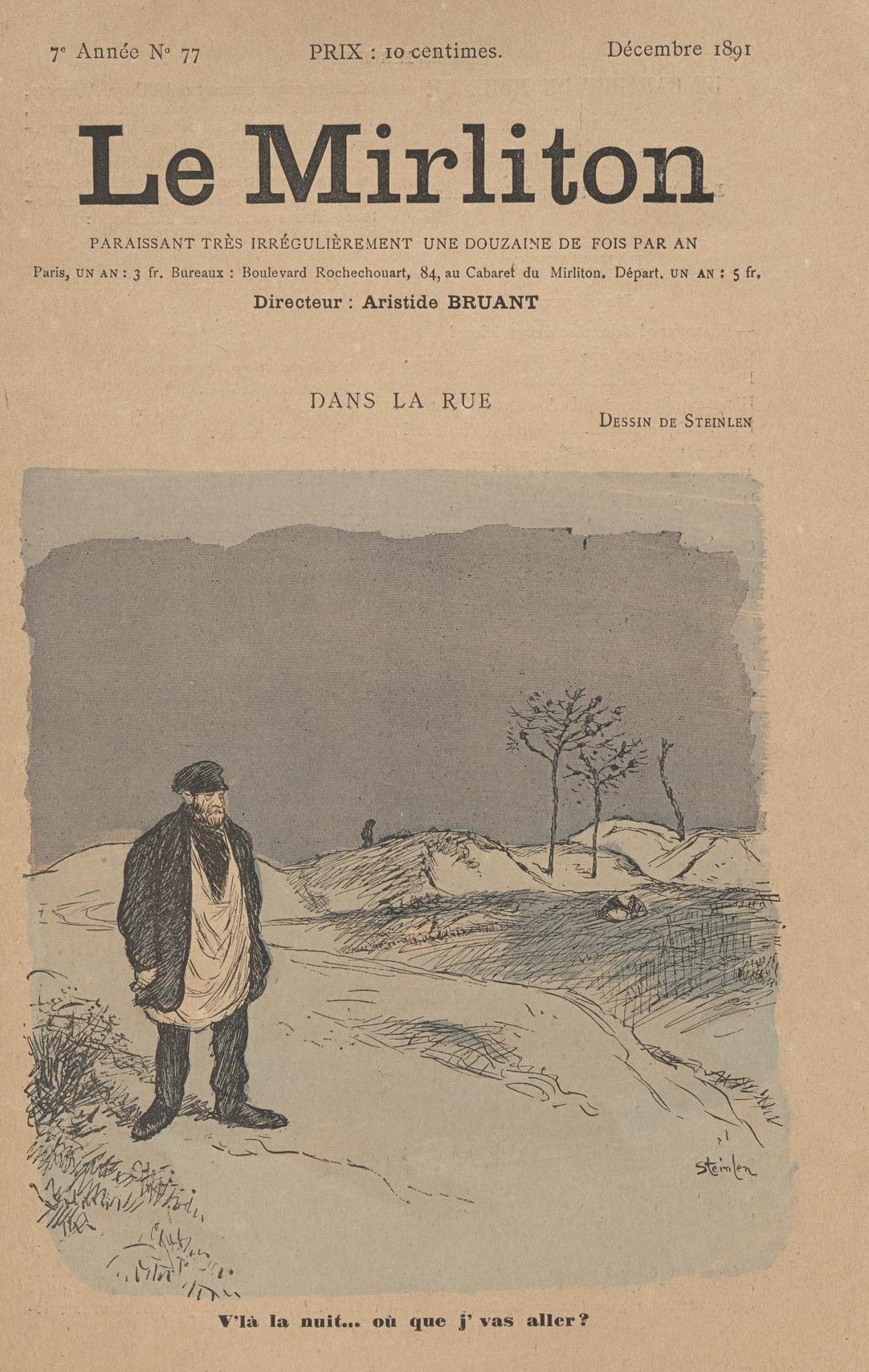 "Theophile-Alexander Steinlen. Illustration for the magazine ""Mirliton"" No. 77, in December of 1891"