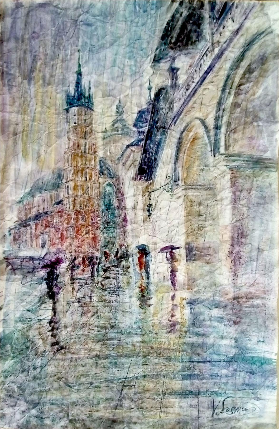 Валерий Иванович Сосна. Ратуша Кракова под дождем