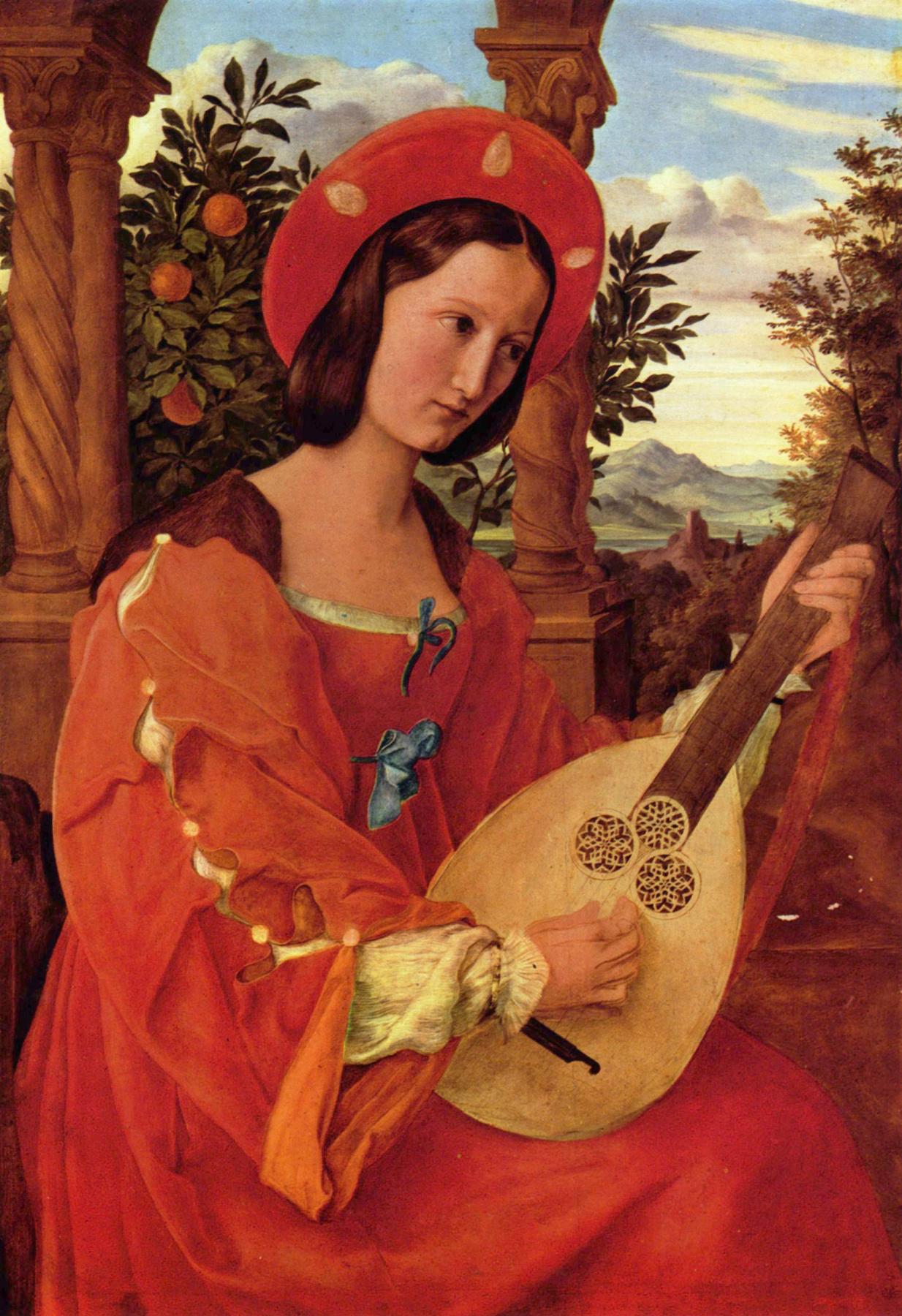 Julius Schnorr von Karolsfeld. Portrait of Clara Bianca von Quandt with a lute in his hands