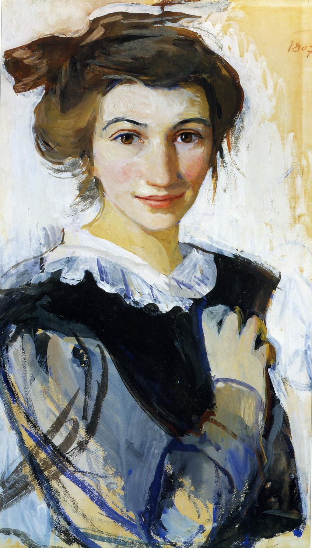 Зинаида Евгеньевна Серебрякова. Автопортрет в черном платье с белым воротником