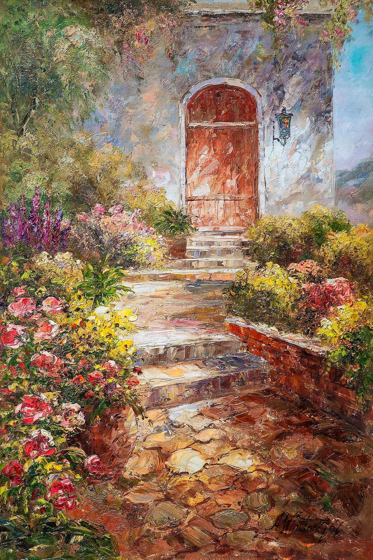 """Andrzej Vlodarczyk. Oil painting """"In the summer courtyard"""""""