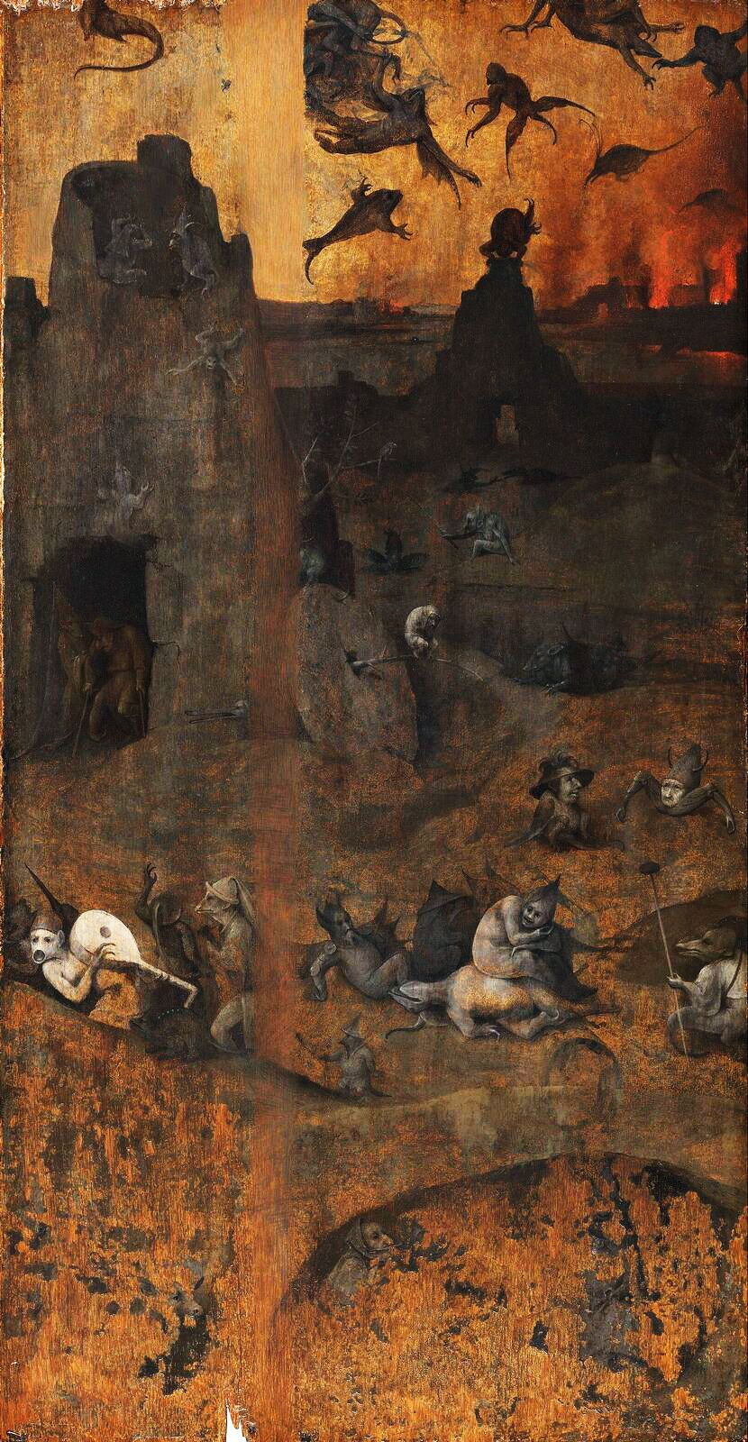 Hieronymus Bosch. The overthrow of the rebellious angels. Diptych Hell and the Flood. Right wing