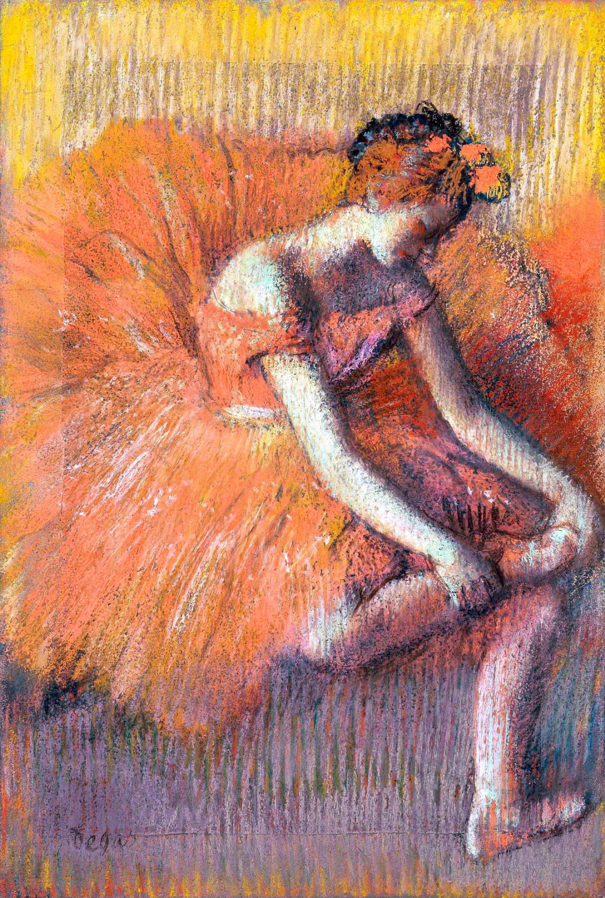 Edgar Degas. Dancer adjusting her sandal
