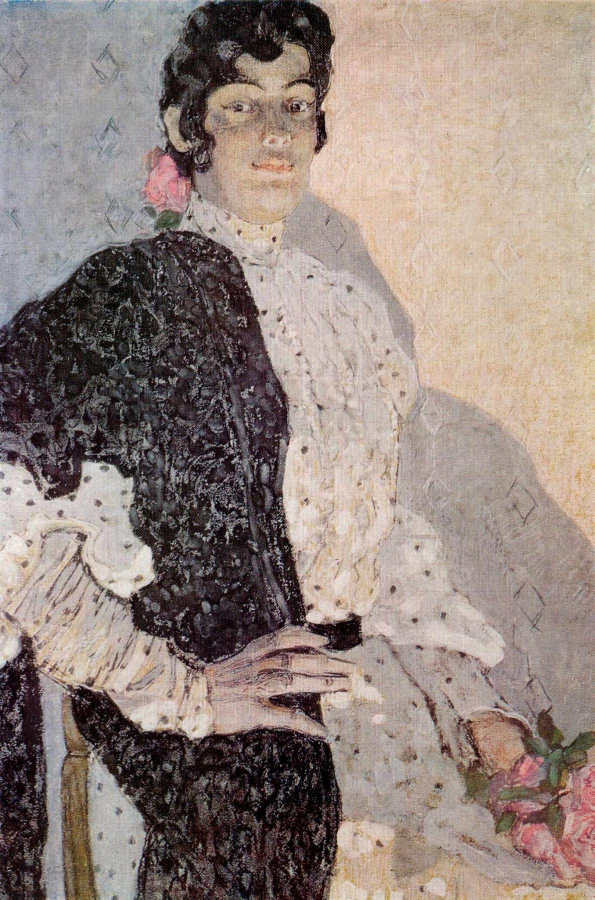 Alexander Yakovlevich Golovin. Spanish woman with black shawl