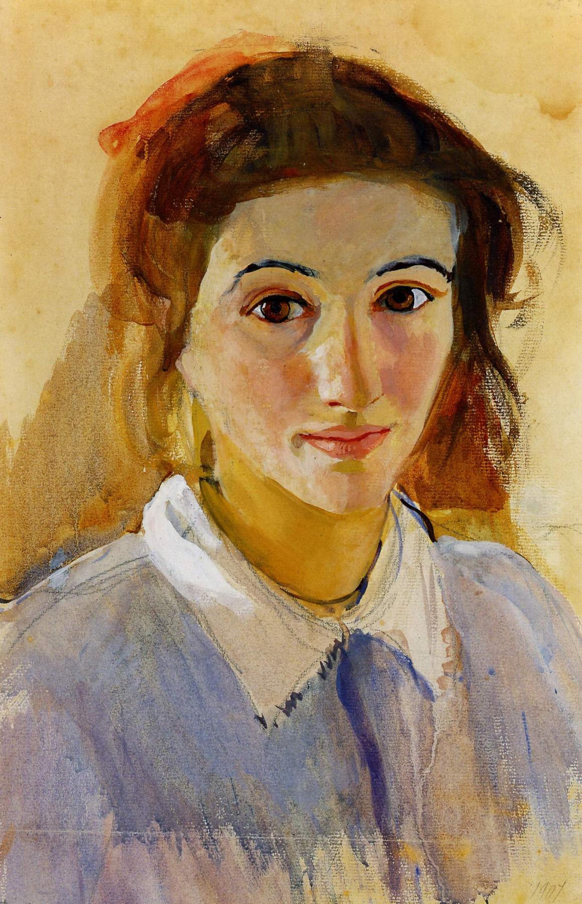 Zinaida Serebriakova. Self-portrait in lilac blouse
