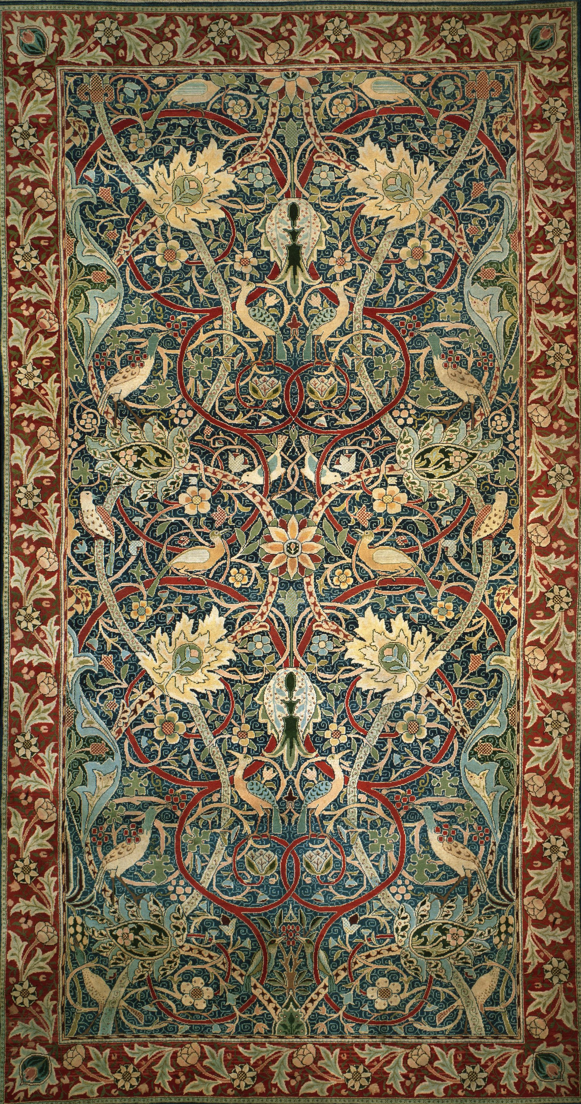 William Morris.  Fleurs et oiseaux  Tapis Design