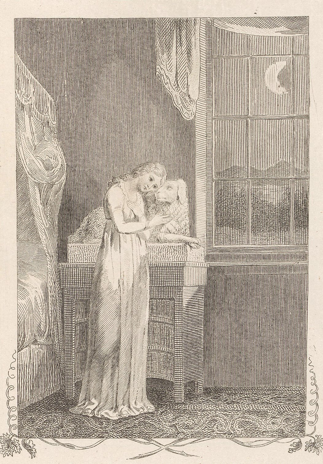 William Blake. The girl with the dog. Illustrations for the collection of ballads, by William Hayley