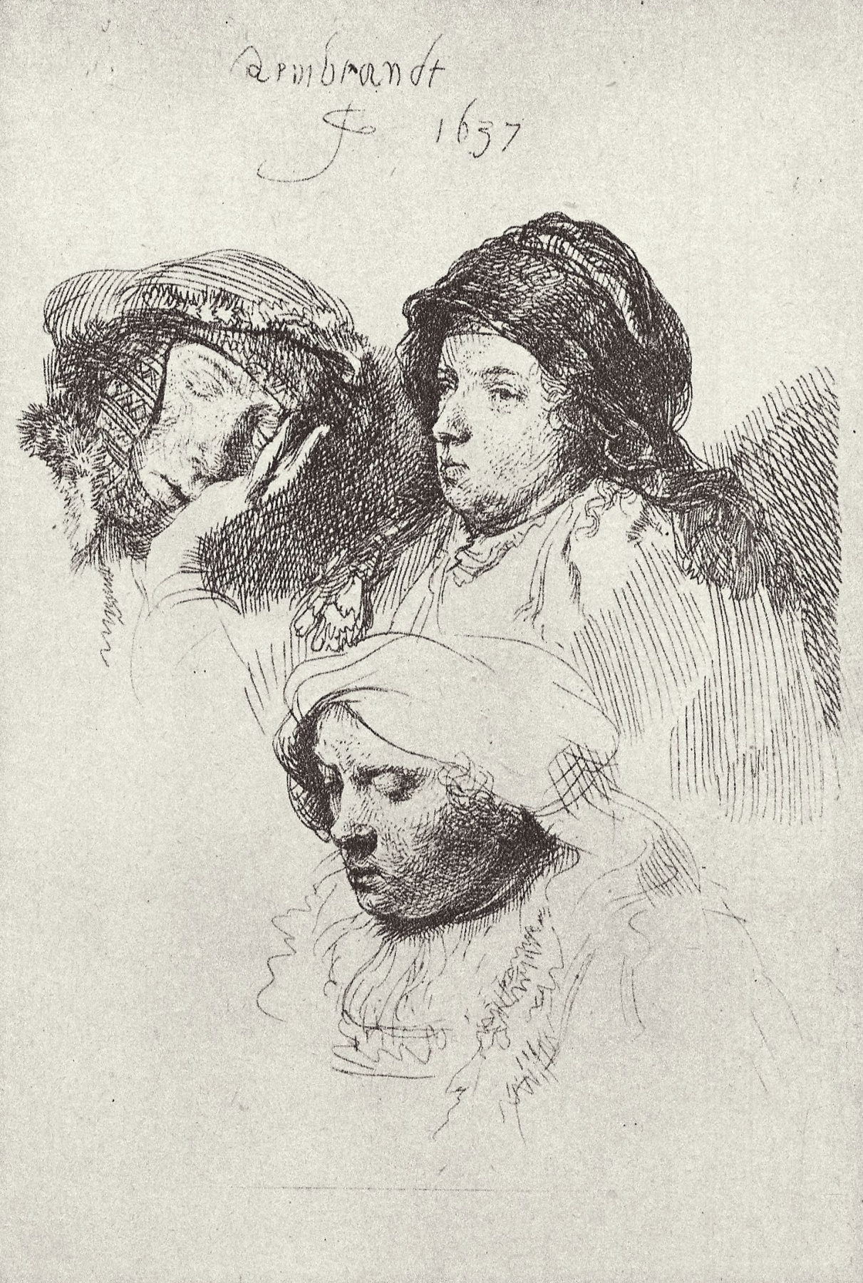 Rembrandt Harmenszoon van Rijn. Sheet with sketches of three female heads