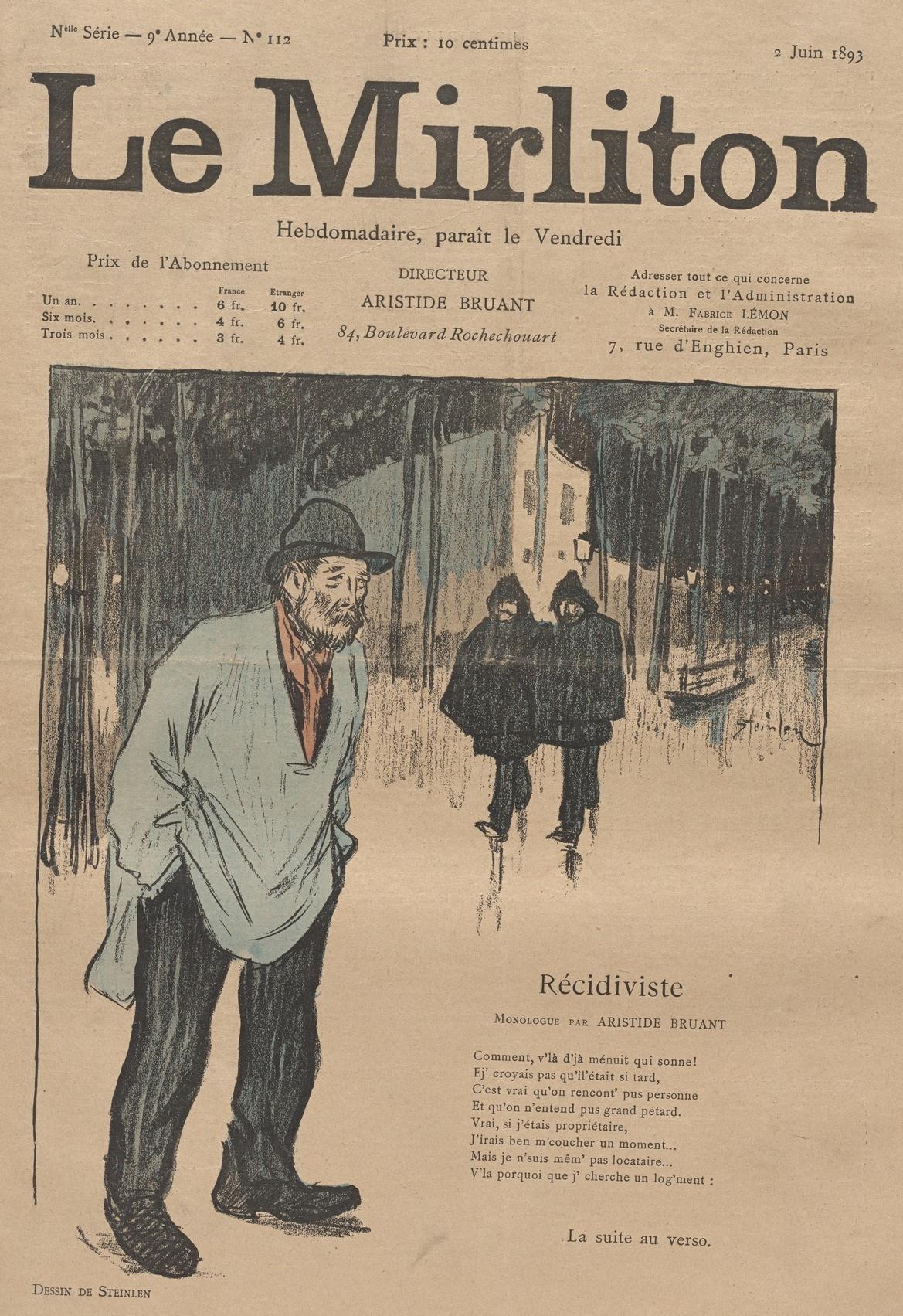 "Theophile-Alexander Steinlen. Illustration for the magazine ""Mirliton"" No. 112, June 2, 1893"