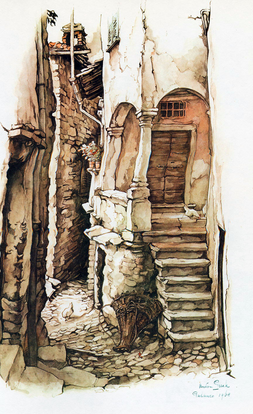 Anton Pieck. The lane with entrance to the house