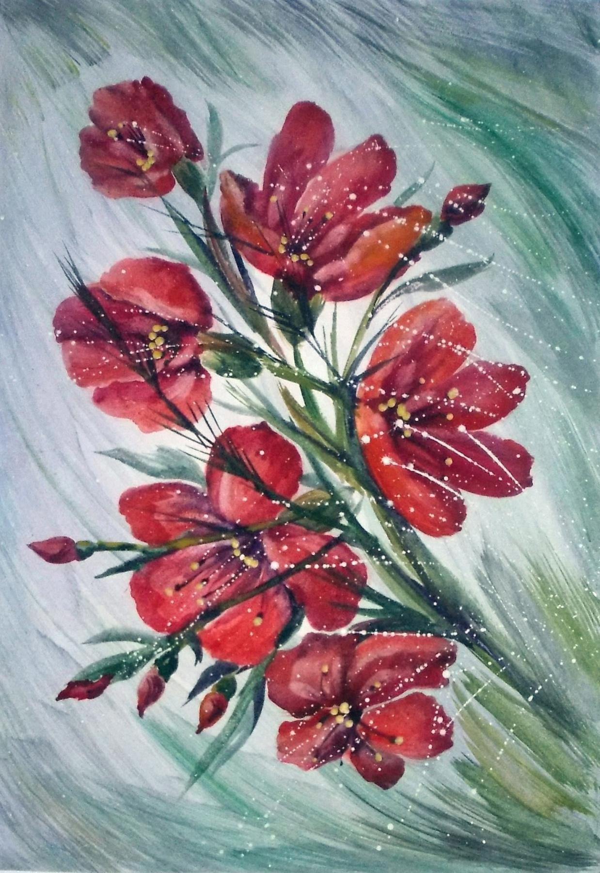 "Svetlana Ivanovna Kataeva. ""FLOWERING BRANCH"",paper.,AKV."