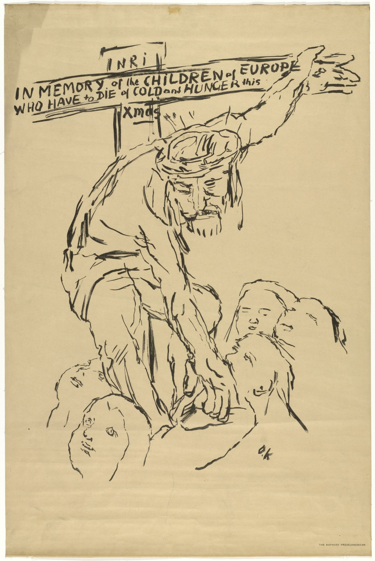 Oskar Kokoschka. Christ helps the starving children